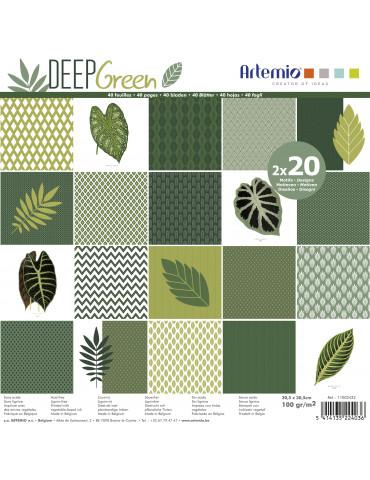 Papiers scrapbooking Deep Green - 30x30cm - 2x 20 feuilles - Artemio