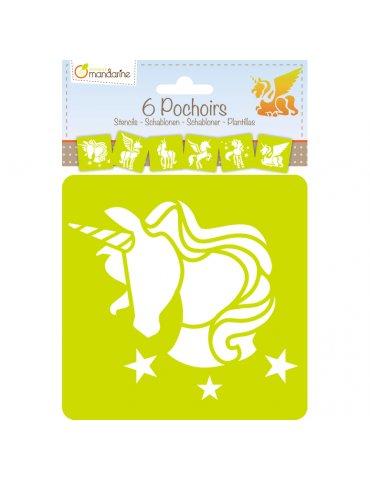 Set 6 Pochoirs enfant Licornes - Avenue Mandarine