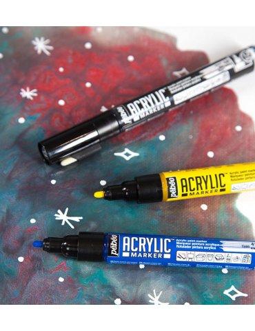 Set 3 Marqueurs acrylique - Acrylic Marker 1,2mm - Noir, Blanc, Or -  Pébéo