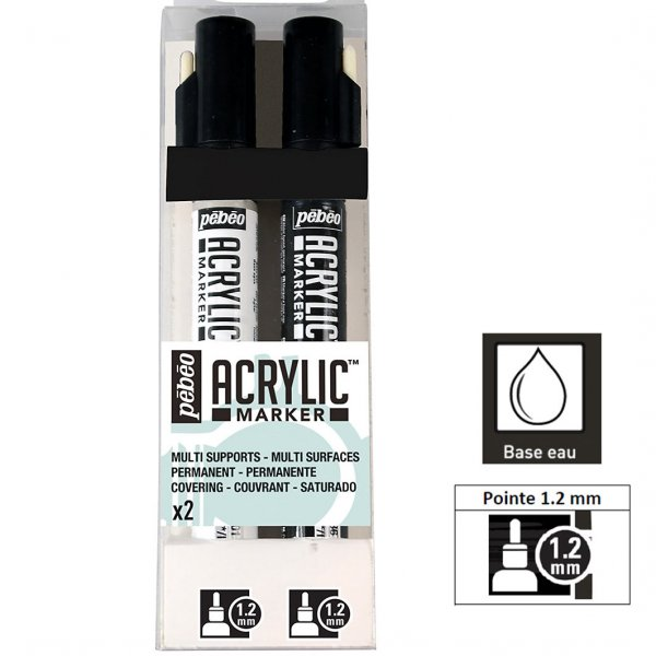 Set 2 Marqueurs acrylique - Acrylic Marker 1,2mm - Blanc, Noir -  Pébéo