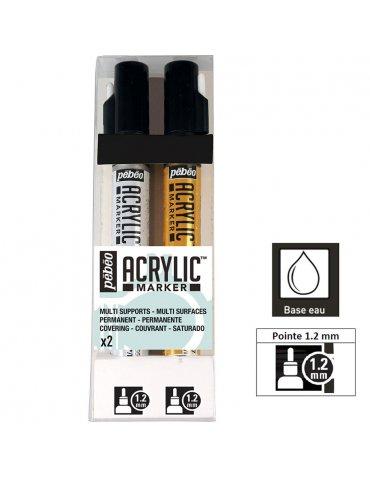 Set 2 Marqueurs acrylique - Acrylic Marker 1,2mm - Or, Argent -  Pébéo