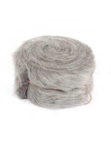 Rouleau tissu fausse fourrure Gris - 6cm x 2m