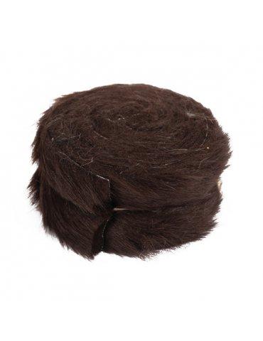 Rouleau tissu fausse fourrure Marron - 6cm x 2m