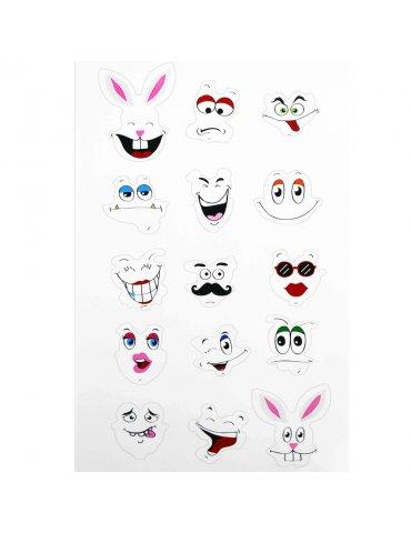 Gommettes Stickers visages - 3 à 5 cm - 30 pièces