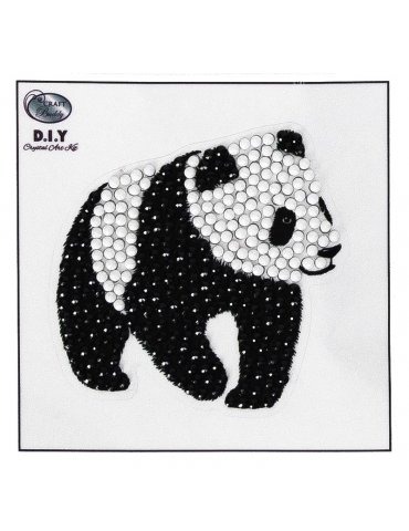 Kit Sticker broderie diamant Crystal Art - Panda 9x9cm