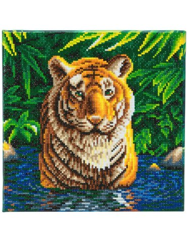 Kit broderie diamant Crystal Art Tigre -  Tableau à diamanter 30x30cm