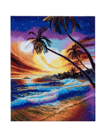 Kit broderie diamant Plage Tropicale - Tableau Crystal Art 40x50cm