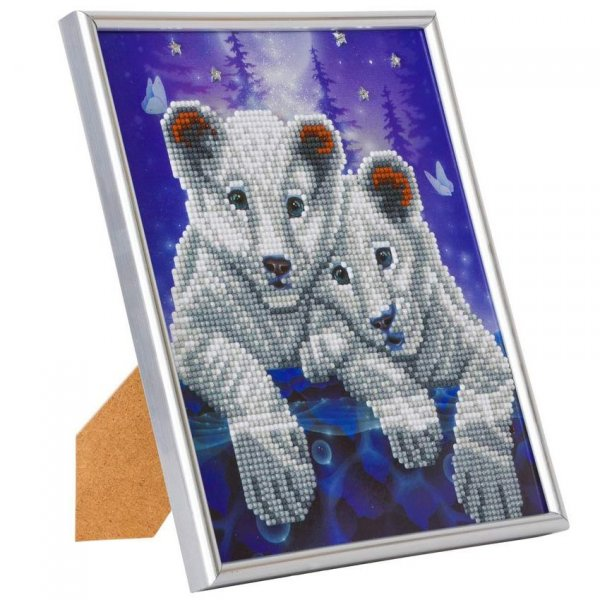 Kit Diamond painting Tigres  Cadre argenté 21x25cm - Crystal Art