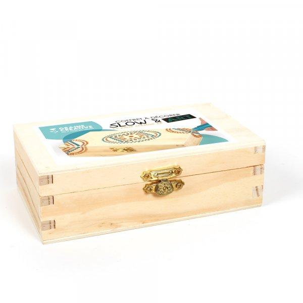Coffret bois Slow & Art - Boite à décorer 14,5cm - Graine Créative