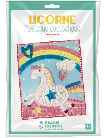 Kit mosaïque mousse caoutchouc souple Licorne - Graine Créative - 3 ans+