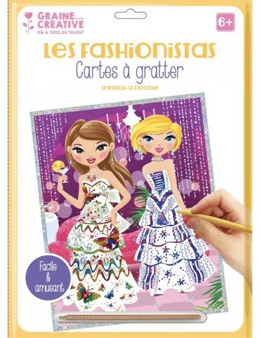 """Carte à gratter blanche Les Fashionistas """" Tenues de soirée"""" - 23x33 cm - Graine Créative"""