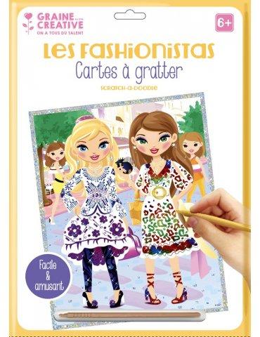 """Carte à gratter blanche Les Fashionistas """"Citadines"""" - 23x33 cm - Graine Créative"""