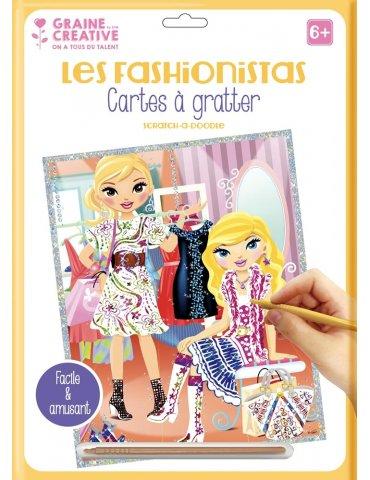 """Carte à gratter blanche """"Les Fashionistas"""" Shopping - 23x33 cm - Graine Créative"""