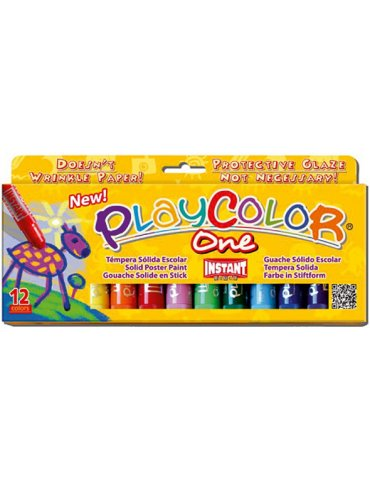Playcolor One - Boite 12 sticks de Gouache solide - Instant