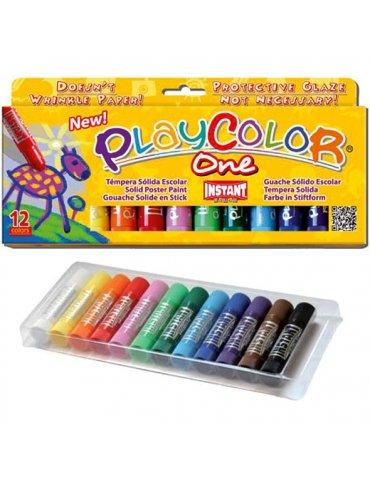 Playcolor One - Boite 12 sticks de Gouache solide - Instant