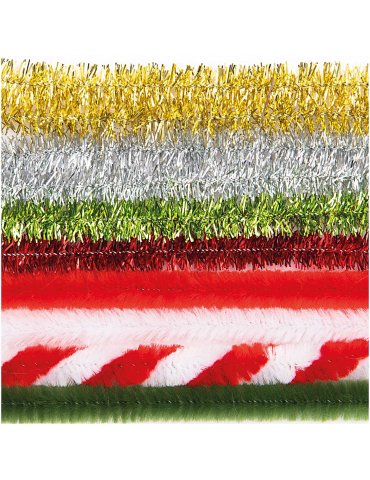 Fils cure-pipe 9mm Mix Rouge et Vert - 10 brins 50cm - Rico Design