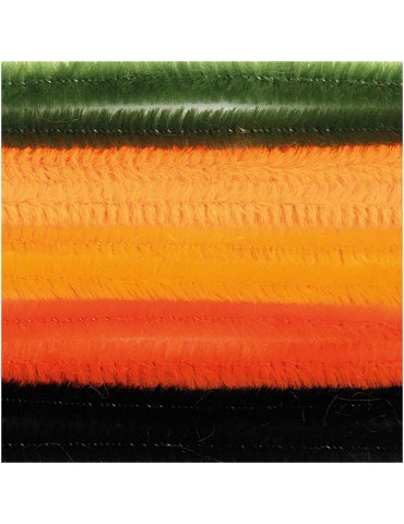 Fils cure-pipe 9mm Mix Orange/Noir - 10 brins 50cm - Rico Design