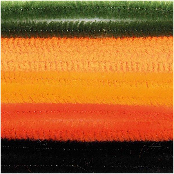 Fils cure-pipe 9mm Mix Orange/Noir - 10 brins 50cm - Rico Design