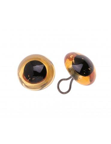 Sachet 2 Yeux verre ambre 12mm Glorex  Confection animaux en peluche