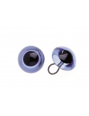 Set 2 Yeux verre bleu 12mm à coudre Glorex -  Confection animaux en peluche