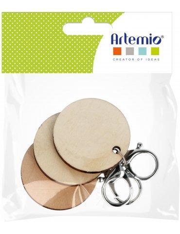 Sachet 3 Porte-clés bois rond à décorer - 5 cm - Artemio