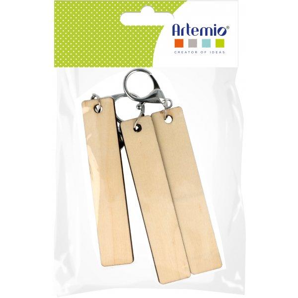 Sachet 3 Porte-clés bois à décorer - Rectangle 20x100 mm - Artemio