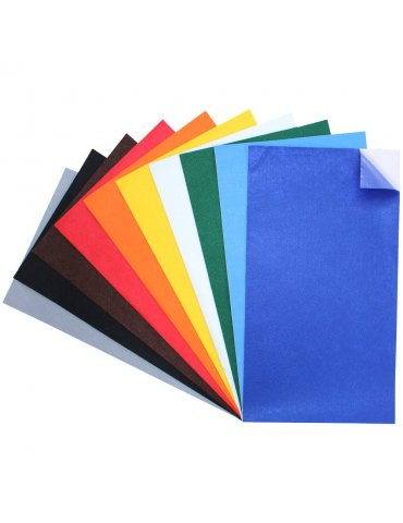 Feutrine adhésive 1mm - Assortiment 10 coupons 45x25cm - Sodertex