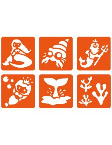 """Lot 6 Pochoirs dessin """"Sirène"""" - Pochoirs plastique Graine Créative"""