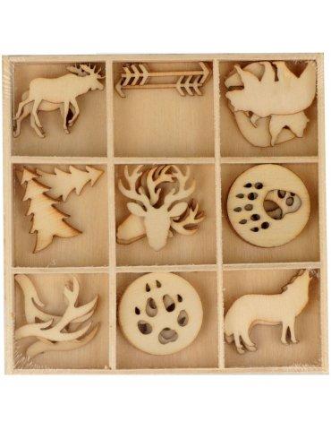 Mini silouhettes bois Wooland - 27 pcs - Artemio