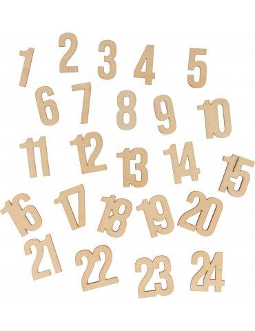 Set 24 Chiffres bois Calendrier Avent - Artemio
