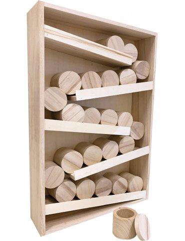 Calendrier de l'avent bois -  Rangement 24 boites rondes - Artemio