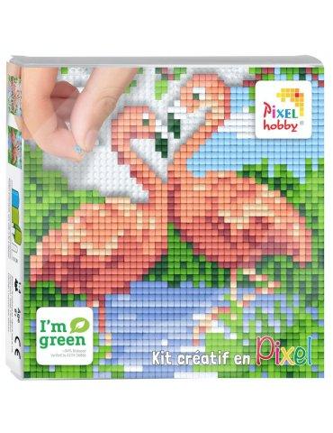 Kit créatif PIXEL - Tableau Flamant rose - 12x12cm - Pixel Hobby