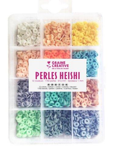 Boite 1750 Perles Heishi 6mm - Pastelles - Graine Créative