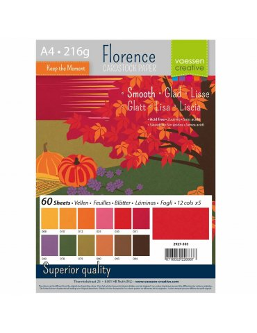 Florence - Cardstock smooth 216g - Assortiment Automne - Format A4 - 60 feuilles