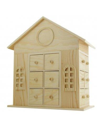 Maison calendrier de l'avent bois - 30 cm - Ctop