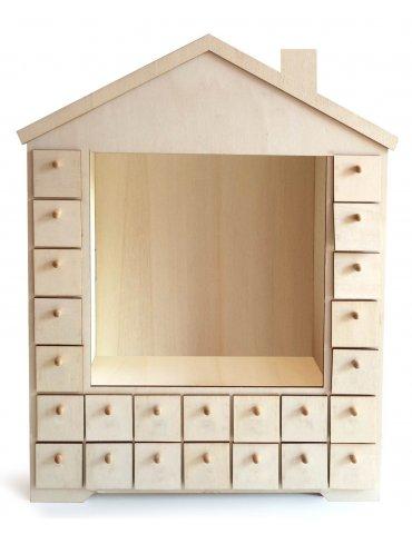 Calendrier Avent en bois - Maison avec cadre vitrine - 38x48cm - Graine Créative