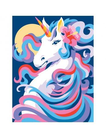 Peinture au numéro débutant - Licorne au clair de lune - Tableau à peindre 25x30cm - Sequin Art