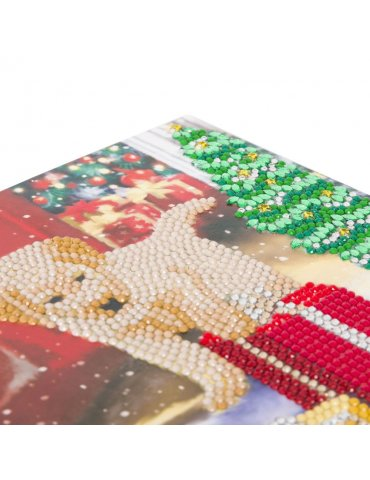Kit Crystal Art - DIY carte Broderie Diamant Labrador Noël - 18x18cm