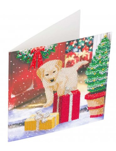 Kit Crystal Art carte Broderie Diamant - Labrador Noël - Carte à diamanter 18x18cm