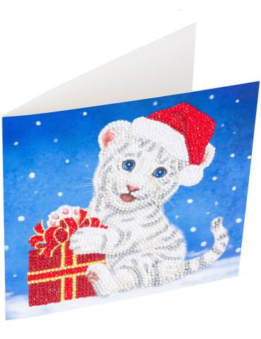 Kit Crystal Art carte Broderie Diamant - Tigre Noël - Carte à diamanter 18x18cm
