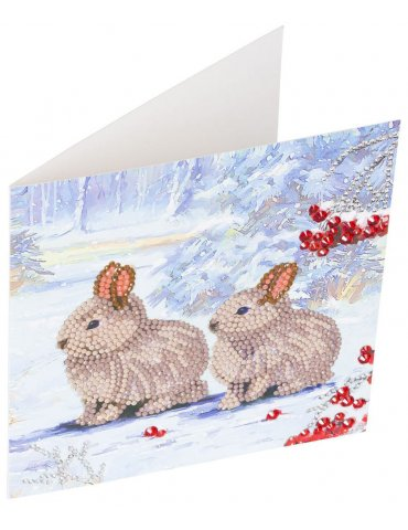 Kit Crystal Art carte Broderie Diamant - Lapins sur la neige - Carte à diamanter 18x18cm