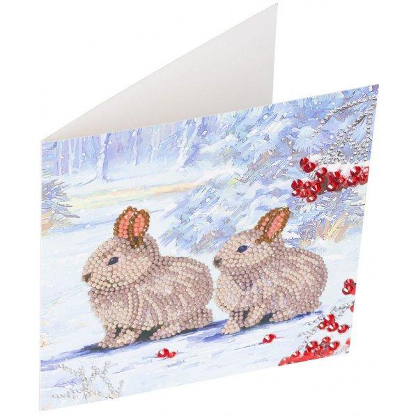 Kit Crystal Art carte Broderie Diamant - Lapins sur la neige - Carte à diamanter 18x18cm