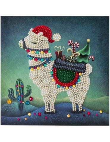 Kit Crystal Art carte Broderie Diamant - Lama Noël - Carte à diamanter 18x18cm