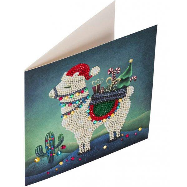 Kit Crystal Art carte Broderie Diamant - Tigre Noël - Carte à diamanter 18x18cm