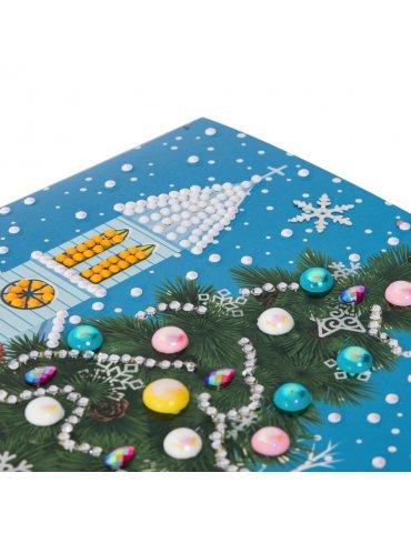 Kit Crystal Art carte Broderie Diamant - Sapin de Noël - Carte à diamanter 18x18cm