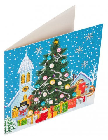 Kit Crystal Art carte Broderie Diamant - Sapin de Noël - Carte à diamanter 18x18cm