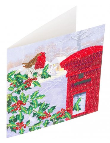 Kit Crystal Art carte Broderie Diamant - Rossignol hiver - Carte à diamanter 18x18cm