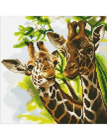 Kit broderie diamant Tableau Girafes - Crystal Art  - Toile à diamanter 30x30cm