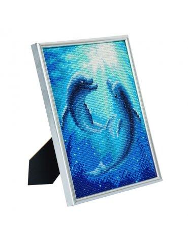 Kit Diamond painting Dauphins Cadre argenté 21x25cm - Crystal Art