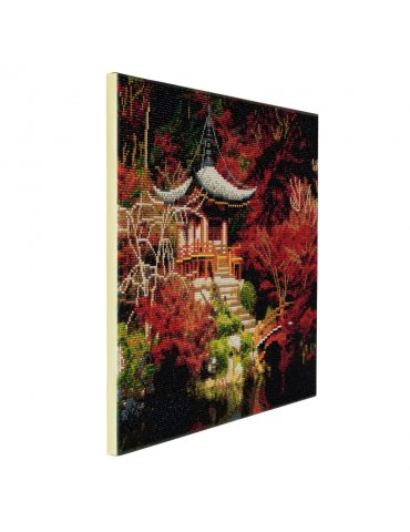 Kit broderie diamant Temple Japonais - Tableau Crystal Art 40x50cm